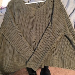 Green express cable knit sweater